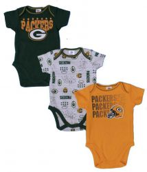 Packers Baby 3 Piece Bodysuit Set