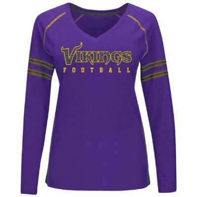a1256c93 Vikings Women's Deep Fade Route V-neck Long Sleeve Top