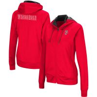 Badgers Women's Red Medley Poly Fleece Full Zip Hoodie