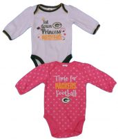 Packers Baby Girl 1st Down Princess Long Sleeve Bodysuit Set