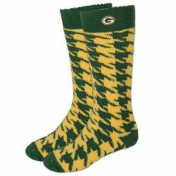 Packers Women's Houndstooth Long Sleep Soft Socks